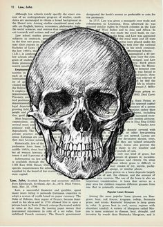 Human SkullVintage Dictionary Print  8x10 by papergangsterprints
