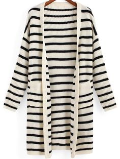 Black and White Striped Drop Shouldered Cardigan
