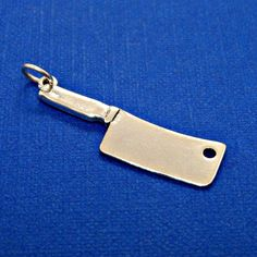 Chef Knife Meat Cleaver Sterling Silver Cooking Food Charm Pendant Customize Necklace no. 2071 by GrassShackTrading on Etsy #chefknife #meatcleaver #bbq #food
