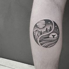 Illustrative, landscape, arm tattoo on TattooChief.com