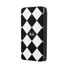 Monogram Black White Diamond Smartphone Pouch Galaxy S5 Pouch | Zazzle ($40) via Polyvore