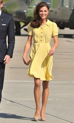 Kate was a ray of sunshine as she arrived at Calgary International Airport sporting a buttery Jenny Packham dress.