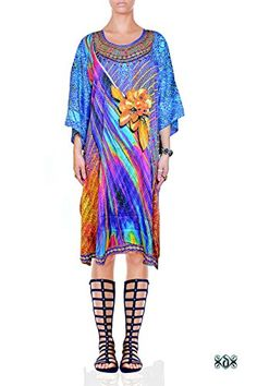 Devarshy Digital Print Floral Embellished Short Georgette SBD Kaftan Tunic  at Amazon Women s Clothing store  86048320b