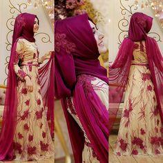 Fuşya Sarmaşık Abiye- GAMZE POLAT FİYAT :720 TL Whatsapp'tan sipariş ve bilgi… Muslim Women Fashion, Islamic Fashion, Modest Fashion, Hijab Fashion, Bridal Hijab, Hijab Bride, Wedding Hijab, Muslim Dress, Hijab Dress