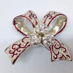 Signed MONET Vintage CHRISTMAS RIBBON BOW BROOCH PIN Rhinestone Red Enamel #Monet #ebay #vintagebrooch #vintagejewelry