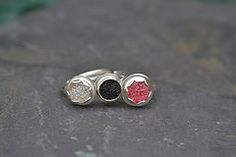 White, red and black drusy agate rings by Jill Endicott Jewellery