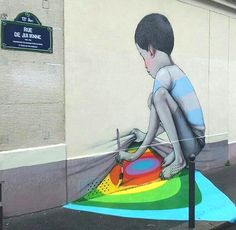 rue de Julienne - Paris 13ème ... Rue de Julienne, sous la façade, les couleurs...