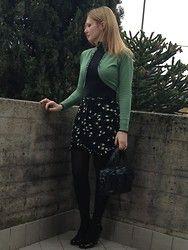 Valeria Arizzi - Thrifted Cardigan, Esprit High Waisted Floral Print Skirt, Barù Wedged Mirror Polish Pumps, Artdeco Spring Green Nail Polish, Krizia Animalier Print Bag, Chanel Perfume - Spring green