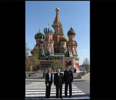 With famed St. Basil's Cathedral serving as a backdrop, Expedition 36/37 Flight Engineer Karen Nyberg of NASA (left), Soyuz Commander Fyodor Yurchikhin (center) and Flight Engineer Luca Parmitano of the European Space Agency pose for pictures May 8 during a ceremonial tour of Red Square in Moscow. Nyberg, Yurchikhin and Parmitano are preparing for their launch May 29, Kazakh time, in their Soyuz TMA-09M spacecraft from the Baikonur Cosmodrome in Kazakhstan for a six-month mission on the…