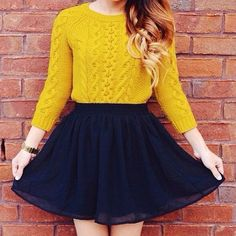 Cute! Love the way the yellow top contrasts with the navy blue skirt.