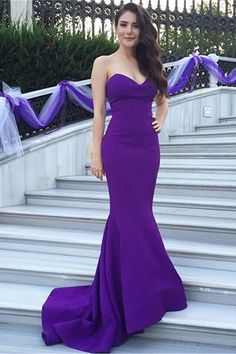 Long+Trumpet/Mermaid+Sweetheart+Satin+Purple+Prom+Dresses+2016