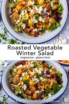 This Roasted Vegetable Winter Salad is a salad for people that think salads aren't filling or they think they are boring. It's the salad for people that think they don't like salads! Warm and hearty – perfect for a cold winter day. Winter Salad Recipes, Salad Recipes For Dinner, Dinner Salads, Vegetarian Recipes Dinner, Easy Salads, Healthy Salad Recipes, Veggie Recipes, Appetizer Salads, Simple Salad Recipes