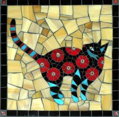 Gallery of stained glass mosaic cats by Santa Barbara, CA artist Christine Brallier. Stained Glass Designs, Mosaic Designs, Stained Glass Patterns, Mosaic Patterns, Mosaic Glass, Mosaic Tiles, Glass Art, Tiling, Mosaic Crafts