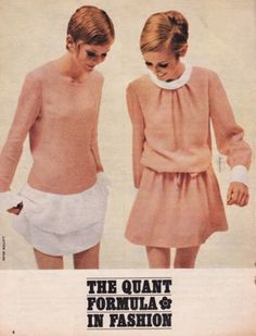 Left: Long-line apricot dress,ruffled in white, called Marshmallow 9 ½ gns.            Right: Drawstring-tied blouson,primly collared and cuffed,called Snowball, 9½ gns.   All images and original text scanned by Sweet Jane from Honey Magazine.