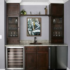 Ceiling apparently low, but cabinets all way to top, w/ crown moulding, make it look higher. *** Modern tile mural in home wet bar - modern - family room - new orleans - by Pacifica Tile Art Studio Wet Bar Basement, Basement Bar Designs, Basement Ideas, Basement Finishing, Basement Closet, Basement Kitchenette, Man Cave Basement, Basement Bathroom, Wet Bar Designs