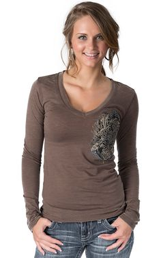 Rock & Roll Cowgirl® Women's Brown with Winged Cross & Shield Collage Embellished Long Sleeve Top - Plus Sizes