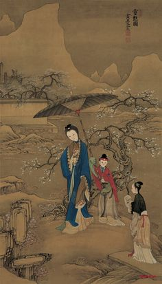 Painting by Leng Mei a Qing dynasty court painter (fl. 1669-1742)
