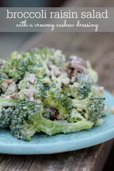 The Best Vegan Broccoli Raisin Salad with a creamy cashew dressing via eatingbirdfood