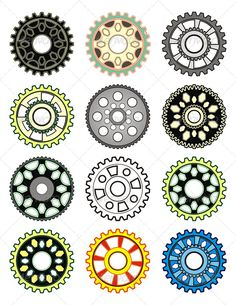 Set of Colorful Gears