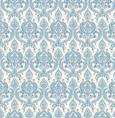 Waverly Indigo Petite Damask 1014-001817 Brewster Wallpaper - Wallpaper