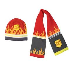 Favorite Firefighter Kids Themed Gifts   Fire Chief Hat & Scarf Set
