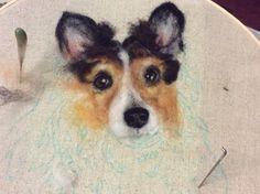 WIP Wool painting portrait of Rio by Linda Wenger