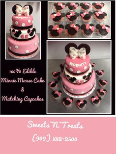 100% Edible Minnie Mouse Cake & Matching Cupcakes.  Sweets~N~Treats  (909) 882-2500 www.sweetsntreats4u.net