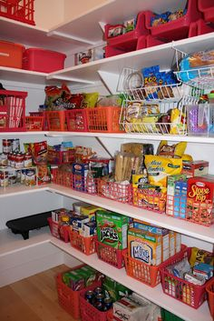 Organized Pantry. I would love to have this much room and food to NEED to organize!