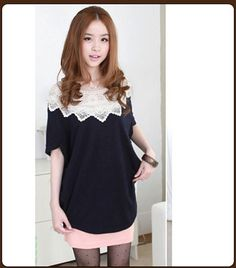 Women's Bat Sleeves Hollow Out Flower Crew Neck T-shirt Blue on BuyTrends.com, only price $9.38