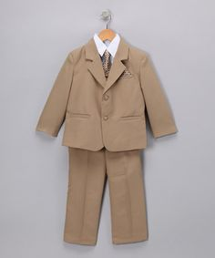 @Ashley Abuthan maybe I should be this for your Gavriel to wear to your wedding next year :) Khaki Suit Set - Infant, Toddler & Boys by LA Sun on #zulily today!