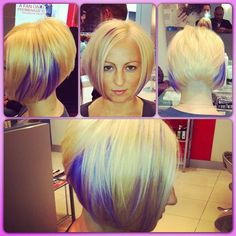 .@tonycstudio | Cut: Inverted bob & undercut Col: blonde w. purple peekaboos Done by: @a... | Webstagram - the best Instagram viewer
