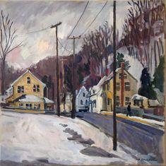 Oil Painting Landscape December Snow North Adams. 20x20