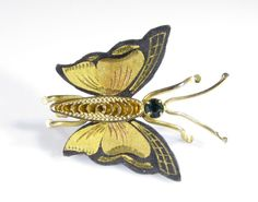 Gold Tone Pin Damascene Butterfly with Green Stone