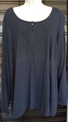 Tommy Hilfiger Womens 1X Size XL Blue Long Sleeve Casual Business Career  Shirt  TommyHilfiger   c9a4a410d