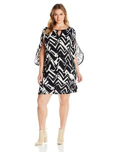 NY Collection Women's Plus Size Printed 3/4 Sleeve Dress Wrap Sleeve with Split Curve Sleeve Hem -- See this great image  : Plus size dresses