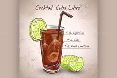 Cocktail Cuba Libre by Netkoff on Creative Market