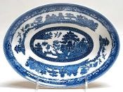 Johnson Brothers Antique Willow Blue Oval Vegetable Bowl