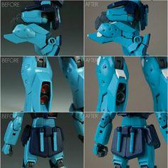 WIP 3. Before and after pics of mods done on suit. #gmsniper #gmsniperii #bandai #gbwc #gbwc2017 #gunpla #plamo #canadiangunpla #gundam #gunplacanada #mastergrade