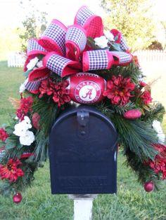 """Leaves of Fall"" Fall Mailbox Swag Alabama Decor, Sweet Home Alabama, Alabama Crafts, Alabama Baby, Christmas Swags, Christmas Holidays, Christmas Decorations, Box Decorations, Merry Christmas"