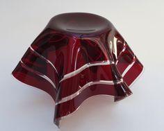 Intaglio Chance Brothers Ruby Glass Handkerchief Vase | eBay
