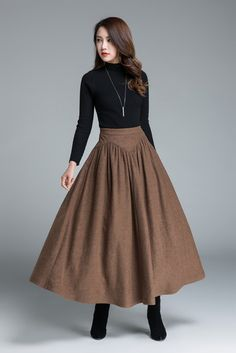 Wool skirt brown skirt long skirt women skirt vintage skirt high waist skirt winter wool skirt pleated skirt long wool skirt by xiaolizi Long Wool Skirt, Wool Skirts, Women's Skirts, Retro Skirts, Vintage Rock, Modest Fashion, Fashion Dresses, Maxi Dresses, Handmade Skirts