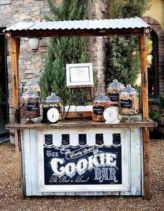Madam Palooza's Cookie bar station / / www.- Madam Palooza's Cookie bar station / / www. Cookie Bar Wedding, Diy Wedding Bar, Trendy Wedding, Unique Weddings, Wedding Reception, Dream Wedding, Wedding Day, Wedding Cookies, Dessert Wedding
