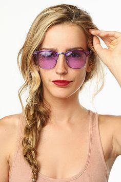 'Peyton' Unisex Pastel Clubmaster Sunglasses - Blue - 5382-4