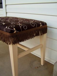 Furniture Rehab – Piano Bench. Love the fringe hotglued on. What a great idea as a simple way to change up a piece. Also saw some glued onto the bottom of swank curtains that I liked :)