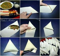 Folding samosas, or briwat or anything Veg Dishes, Savoury Dishes, Vegetable Dishes, Side Dishes, Indian Food Recipes, Whole Food Recipes, Snack Recipes, Savory Snacks, Yummy Snacks