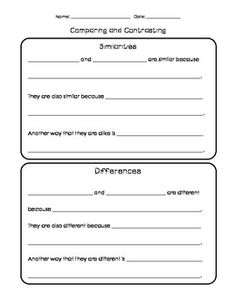 Similarities And Differences Sentence Frames Organizer