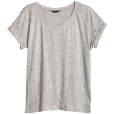 H&M Top in slub jersey ($10) ❤ liked on Polyvore featuring tops, t-shirts, shirts, tees, grey, grey tee, sleeve t shirt, t shirt, gray shirt and gray tees