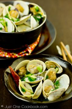 Japanese Clams - finish with a pat of butter, about a tablespoon of shoyu and a handful of thinly sliced green onion.