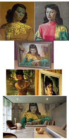 Tretchikoff & Lynch...I bought print of the green faced girl when I was 19 and newly working--probably at the height of its popularity as a multi-produced piece of art for the masses. I just liked it; in a wide black wood frame. I still have it, tucked in a closet; won't part with it.