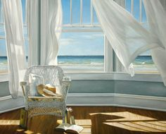 Ocean View Window Painting. What I love about this painting is that it has real atmosphere. You look at it and you can feel the breeze!